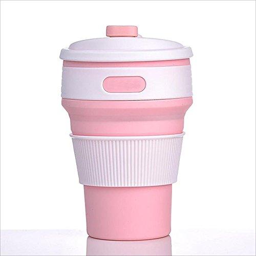 Strandzelt 350ml Outdoor Sports Travel Cup Tragbare Silikon-Faltschale Handliche Tasse, tragbar Camping Zelt (Color : Pink)