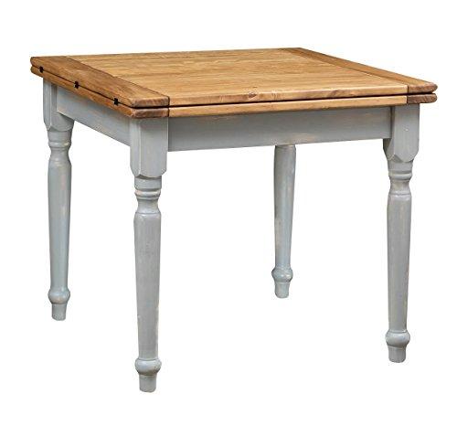 Biscottini Table extensible à livre en bois massif de tilleul - Style country - Structure grise antique - Plateau naturel L 90 x P 90 x H 80 cm