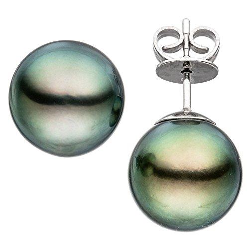 Par con diseño de 11-12mm perlas de Tahiti gris 585 pendientes de oro blanco