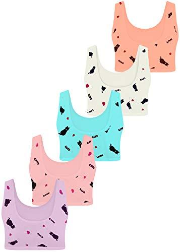 LOREZA ® 5 Sujetador Bustier para Niñas Ropa Interior Camiseta de Tirantes -M-211-12-13 años