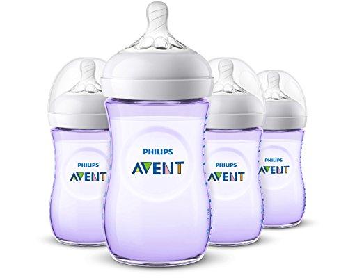 Buy Discount Philips Avent Natural Baby Bottle, Purple, 9oz, 4pk, SCF013/43