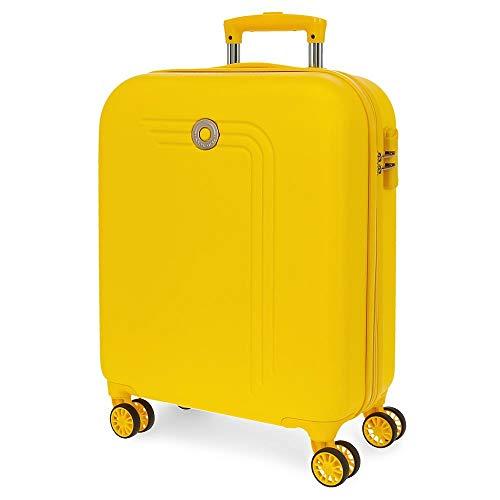 Movom Riga Maleta de Cabina Amarillo 40x55x20 cms Rígida ABS Cierre combinación 37L 2,8Kgs 4 Ruedas Dobles Equipaje de Mano