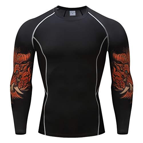 ODRD Sommer Vatertagsgeschenk, Mode Herren Langarm Yoga Fitness Print T-Shirt Top Bluse - t Shirt Herren Tshirt