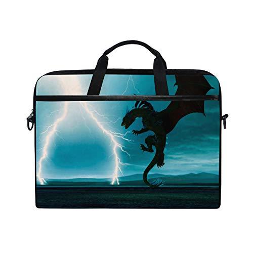 LOSNINA 15-15.4 inch Laptop Tasche,Gewitter Crystal Dragon 3D Illustration,Neue Leinwand Drucken Muster Aktentasche Laptop Schulter Messenger Handtasche Case Sleeve