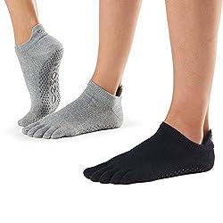 ToeSox Women's Low Rise Full Toe Grip Non-Slip