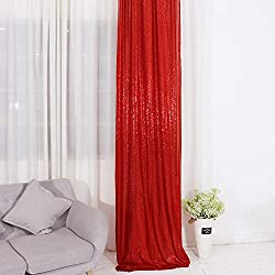 Red Sequin Curtains Drape Panels Backdrops