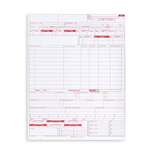 500 UB04 Claim Forms, CMS 1450 Health Insurance Claim Forms for Hospitals and Medical Facilities, Standard Uniform Billing Form for Major Insurance Providers Including Medicare, 500 Pack, 8.5 x 11 in