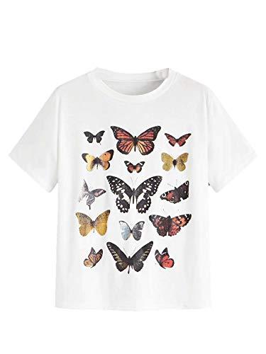 SheIn Women's Casual Round Neck Basic Summer Short Sleeve Tee Tshirt (X-Large, White#)
