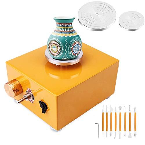 PAKASEPT Mini Töpferscheibe, 2000 U/min Keramikmaschine, mit 6,5 cm und 10 cm Plattenspieler DIY Clay Tool für DIY Kunsthandwerk, Keramik Arbeit
