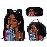 Mochilas escolares primarias para niños Black Art African Girls Pattern 3PCS / Set Mochila escolar con bolsa de almuerzo y bolsa de lápices (Backpack 4)