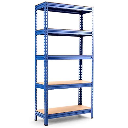 Tangkula 5-Tier Storage Shelves, Heavy Duty Steel Frame Muscle Rack 60in Garage Shelf with Adjustable Shelves, Boltless Shelving Unit for Free Combination, Metal Utility Shelves (1, Navy Bule)