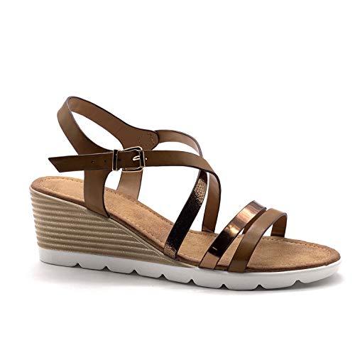 Angkorly - Damen Schuhe Pumpe Sandalen - Rock chic - Vintage/Retro - Multi-Zaum - metallisch - Gestreiftes Keilabsatz 6 cm - Camel DD2 T 39