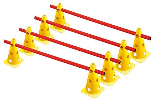 RHINOS sports Steckhürdenset, Kegelhürden 4er-Set | 22,5cm | gelb