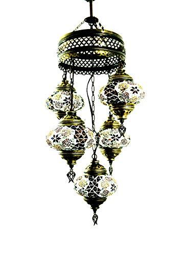 Oosterse Turkse handgemaakte mozaïek glas hanglamp binnenlamp hanglamp plafondlamp buitenlamp handgemaakt hanglamp 5 lichtjes glasmaat 2