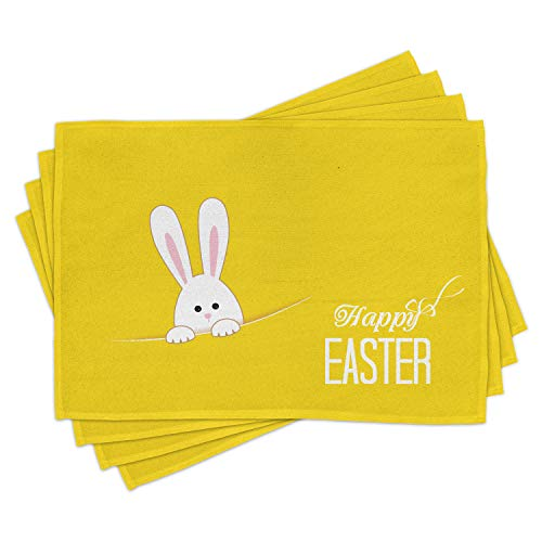 Ambesonne Yellow Place Mats Set of 4, Easter Bunny Rabbit Animal Cartoon Springtime Cheerful Fun Celebration Art Print, Washable Fabric Placemats for Dining Room Kitchen Table Decor, Yellow White