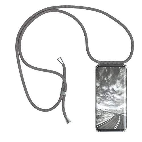 EAZY CASE Handykette kompatibel mit Samsung Galaxy S9 Handyhülle mit Umhängeband, Handykordel mit Schutzhülle, Silikonhülle, Hülle mit Band, Stylische Kette mit Hülle für Smartphone, Anthrazit
