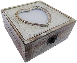 Schatzkiste mit Herz für Bild Schatztruhe Truhe Holztruhe Holzbox Box 15x15x7 cm Massivholz im Shabby Chic Look
