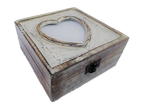 Geschenkhaus-Tom Schatzkiste mit Herz für Bild Schatztruhe Truhe Holztruhe Holzbox Box 15x15x7 cm...