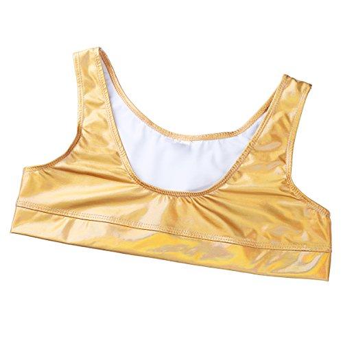 CHICTRY Women's Shiny Leather Wetlook Bikini Swimsuit Bathing 2 Piece Outfits Set Gold Large