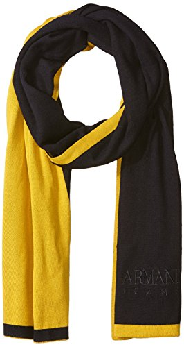 Armani Exchange Herren Schal aus Reiner Merinowolle mit gesticktem Markennamen - Mehrfarbig - Einheitsgröße