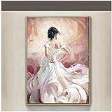 LLXHG Flamenco Tänzer Modern Sexy Back Weiß Kleid