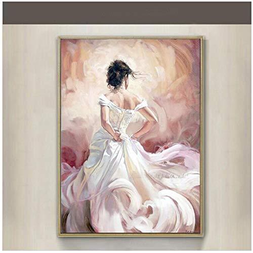 LLXHG Flamenco Tänzer Modern Sexy Back Weiß Kleid Charakter Wandbilder Abdruck Malerei Leinwand Kunst Home Decor- 40X60Cmx1 Kein Rahmen