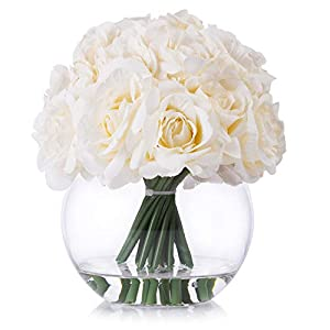 Enova Home 21 Heads Silk Open Rose Flower Arrangement in Round Glass Vase with Faux Water for Home Party Wedding Centerpiece Decoration (Cream)