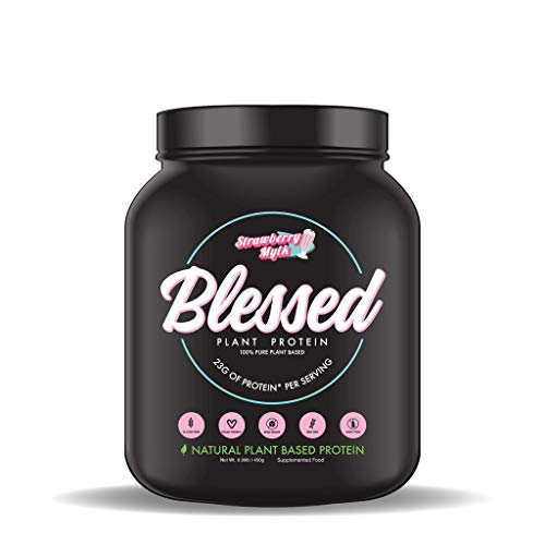 BLESSED Plant Based Protein Powder – 23 Grams, All Natural Vegan Protein, 1 Pound, 15 Servings (Strawberry Mylk)