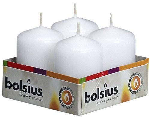 Bolsius pack 4 Pillar Candles Small , 'White 40 mm Width'