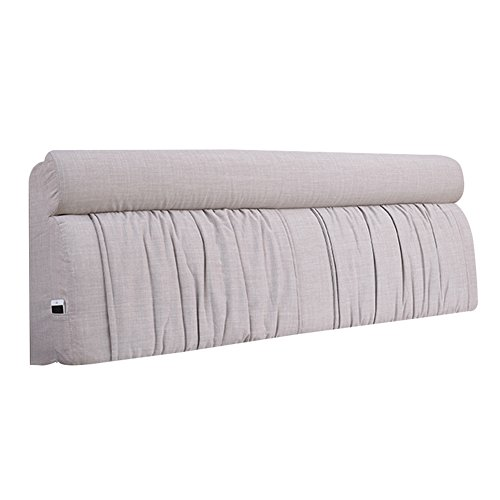XUQIANG Bed Soft Pack Large Back Cushion Bed Cover Solid Wood Double Tatami Washable Fabric, Light Grey, 155x10x60cm