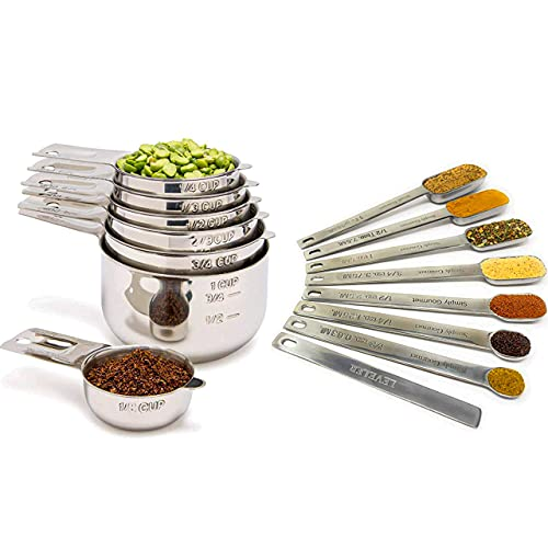 Simply Gourmet Measuring Cups and Spoons Set - Stainless Steel Measuring Cups Set for Cooking & Baking, Set of 15.