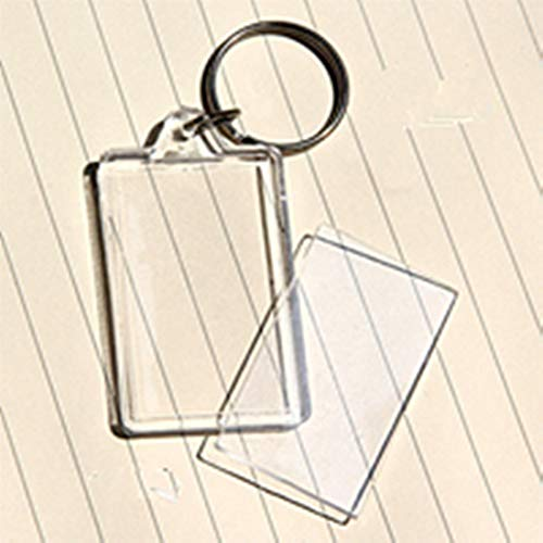 King&Pig 50PCS Key Chains Key Rings with Transparent Clear Picture Photo Frames Can Open Keychains (rectangle)
