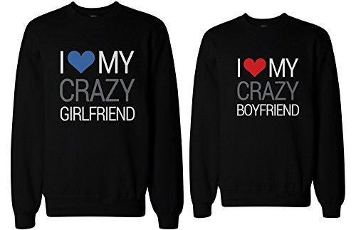 "Sudaderas a juego con texto ""I Love My Crazy Boyfriend and Girlfriend"""
