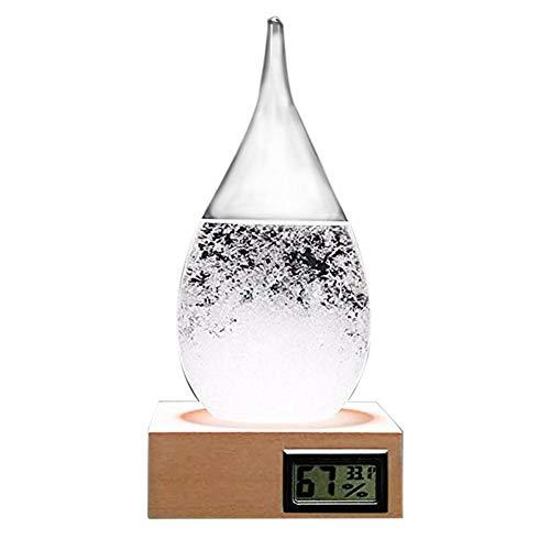 QUUY stormglas weerstation creatieve waterdruppels weersvoorspelling met houten sokkel, transparante weersvoorspelling fles weer glas voor thuis en op kantoor, cadeau voor verjaardag of Valentijnsdag