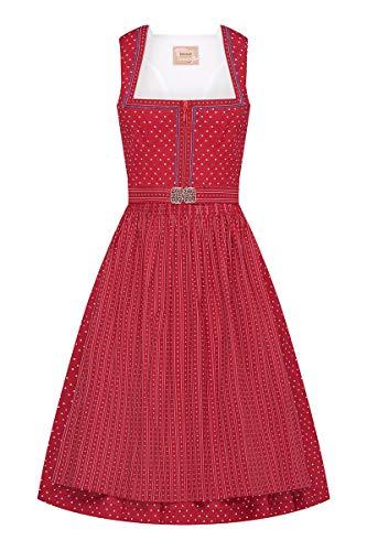 MOSER Trachten Midi Dirndl 65 cm rot Gemustert Hannah 007265, Streublumenmuster, Häkelborten, Schürze mit Vintage-Schließe 36