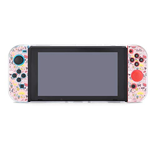 Protective Case Cover for Nintendo Switch Pink Summer French Bulldog Kitty Cat Sun Laptop Cactus Pineapple Watermelon Dockable Case Compatible with Nintendo Switch Console and Joy-Con Controller