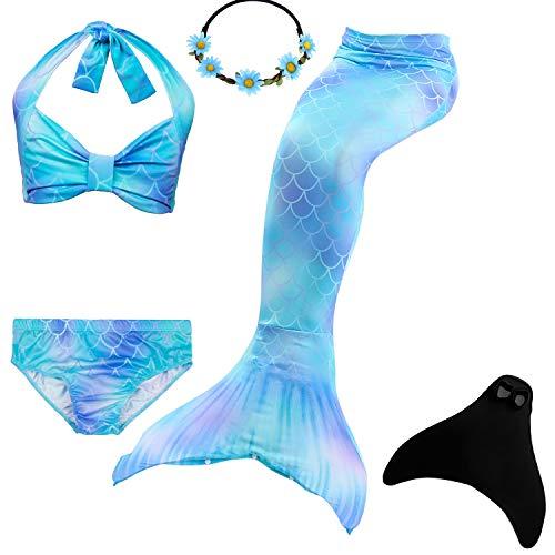 UrbanDesign Meerjungfrau Flosse Zum Schwimmen Flossen Für Mädchen Kinder Mit Bikini, 11-12 Jahre, Blau