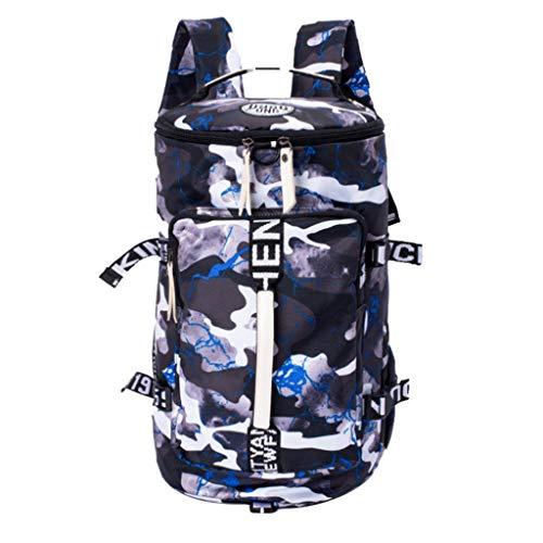 Vielguck_Bag Women Men Large Capacity Canvas Bucket Backpack, National Style Cool College Bag Mountaineering Bag Travel Luggage Bag Handbag