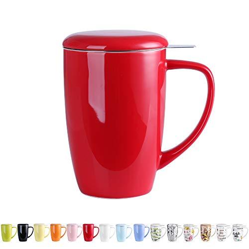 LOVECASA Tazas de Té con Tapa y Filtro Acero inoxidable 450 ML, Taza Tisana de Porcelana Rojo