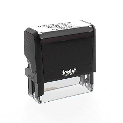 Trodat Custom Endorsement Stamp, Up to 5 Lines, Up to 30 Characters per Line, Choose from 5 Ink Colors, Self-Inking 1' x 2-3/4'