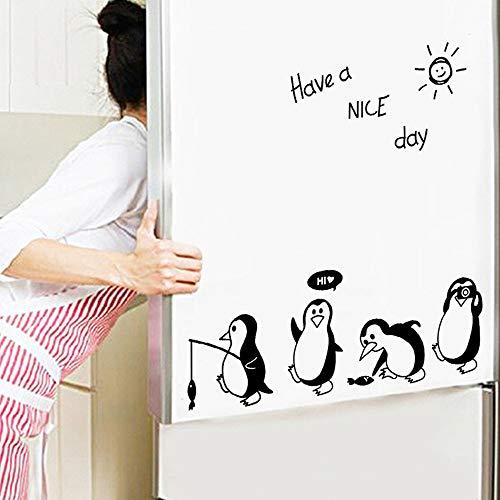 Tophappy Adesivo Murale Pinguino e Frasi'Have a Nice Day' DIY Wall Stickers Removibile Impermeabile Adesivi Murali Adesivo da Parete/Frigo per Salotto Famiglia Arte Murale Home Decor