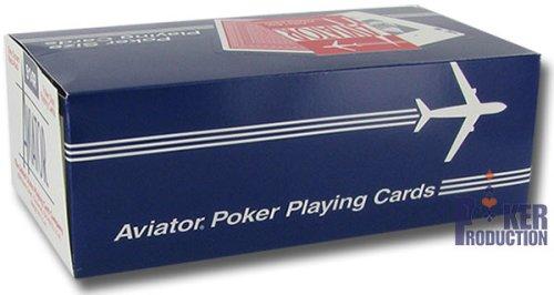 Paket von 12 Pokerkarten AVIATOR (US Playing Card Company Bicycle) - 6 Blau / 6 Rot