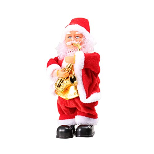 STOBOK Dancing and Singing Santa Claus Doll Battery Operated Musical Moving Figure Plush Father Christmas Toy Without Battery (Saxophone)