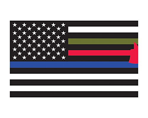 First Responder Flag American Flag Thin Red Blue Green Flag 3x5 Vinyl Decal Sticker for Cars Trucks Laptops etc...3x5 (Black and White)