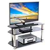 Rfiver Glass Corner TV Stand for 26-46 Inch Flat/Curved Screen TVs, TV Table with Black Tempered Glasses and Silver Stainless Tubes, Small Entertainment Center for Bedroom Living Room