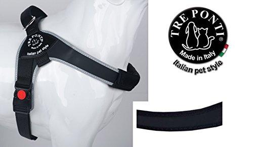 TRE Ponti Harnais Brio noir avec bord noir de 60-75 cm jusqu'à env. 10-20 kg