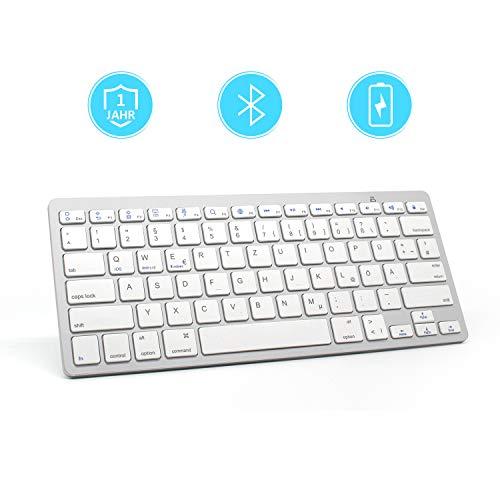 Bluetooth Tastatur LANGTU Kabellose Tastatur Wireless Keyboard Ultra-Dünn-Design - QWERTZ Layout Deutsch - 78 Tasten Mini Tastatur - Kompatibel mit iOS Windows Android - Silber