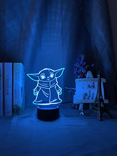 Luz nocturna 3D LED 3D de Star Wars Baby Yoda Mimu figura de juguete para niños luz nocturna decoración lámpara de mesa Ba outdoor christmas lights DUYAO00