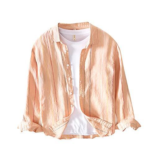 Dolly Paraメンズリネンシャツ100%フレンチ麻正規品ストラップ柄 (オレンジ, L)