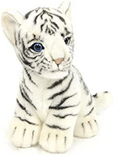 "Hansa White Tiger Baby Plush Animal Toy, 8"" x 7"""